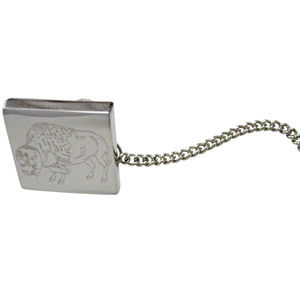 Silver Toned Etched Buffalo Tie Tack